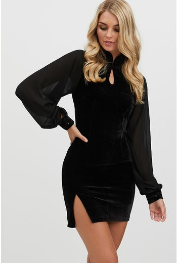 VELVET HIGH NECK DRESS