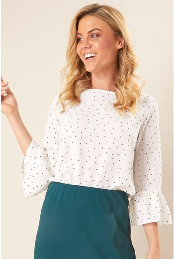 STAMP PRINT BELL SLEEVE SHELL TOP