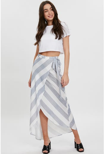 WIDE STRIPE WRAP FRONT MAXI SKIRT